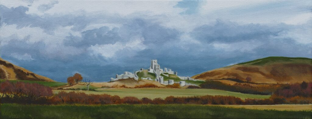 Painting of castle ruins on a hill