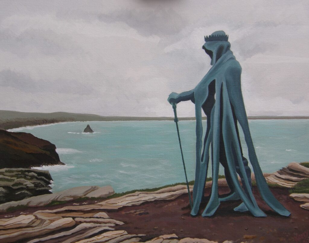 Painting of sculpture of a hooded figure on a clifftop overlooking the sea