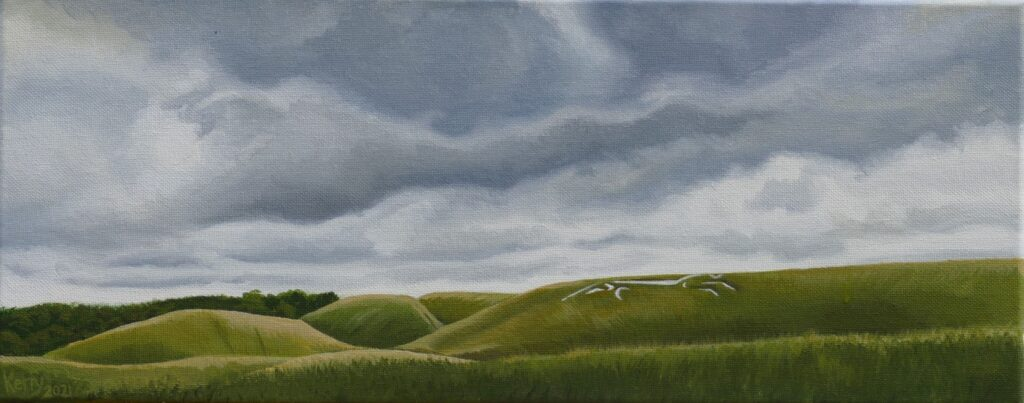 Painting of a white horse chalk figure on grassy slope