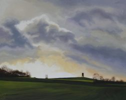 Painting of folly on top of a hill under a cloudy sky